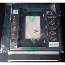 (Adaptor Rack Nou) DeepFox Caddy 12,7mm pentru SSD HDD 2.5 in loc de DVD laptop