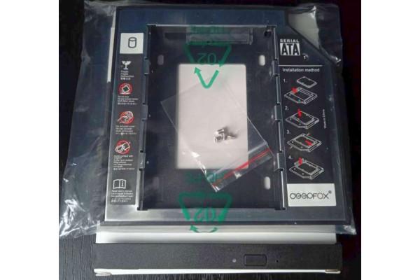 Adaptor Rack DeepFox Caddy 9,5mm pentru SSD HDD 2.5 in loc de DVD laptop (Nou)