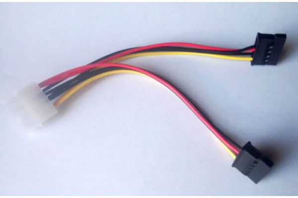 (Cablu adaptor Nou) Alimentare Hard disk / DVD / SSD SATA Molex(IDE) la 2x SATA