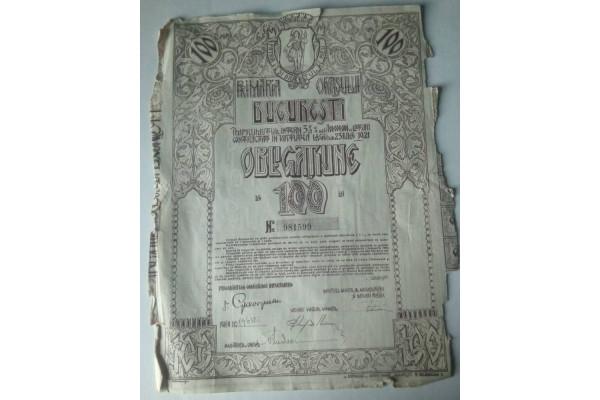(Document Vintage) Obligatiune 100 lei - Bucuresti (1921)