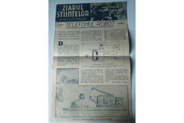 (Document Vintage) Ziarul Stiintelor si al calatoriilor nr. 12 - Telefonul Robot (1938)