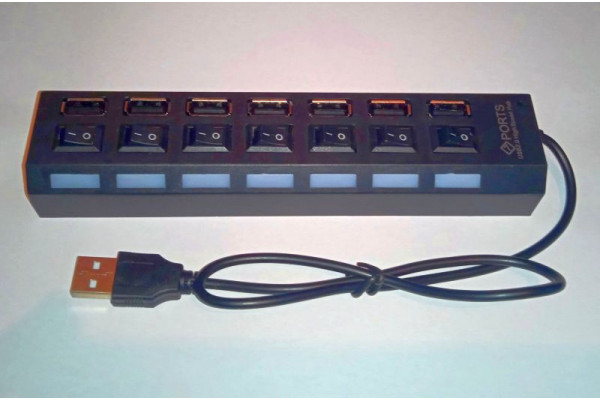 (Hub Nou) Multiplicator 7x USB cu leduri si comutatoare pentru PC/laptop