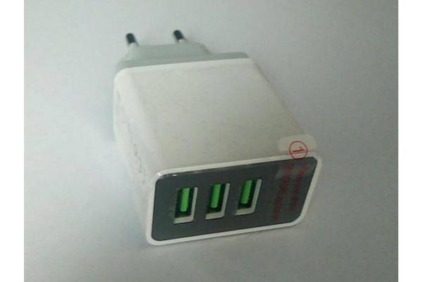 (Incarcator Nou) Ecran Led Triplu USB (Alb)