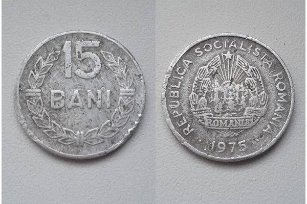 (Moneda Veche) 15 bani 1975 RSR