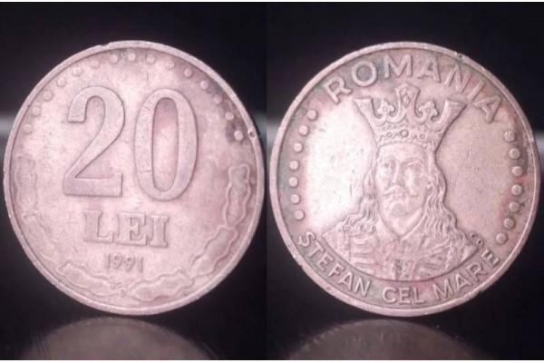 (Moneda Veche) 20 lei 1991 (Stefan cel Mare)