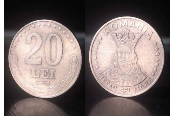 (Moneda Veche) 20 lei 1993 (Stefan cel Mare)