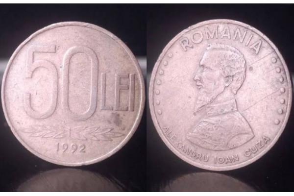 (Moneda Veche) 50 lei 1992 (Alexandru Ioan Cuza)