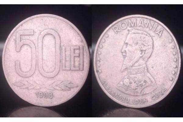 (Moneda Veche) 50 lei 1993 (Alexandru Ioan Cuza)