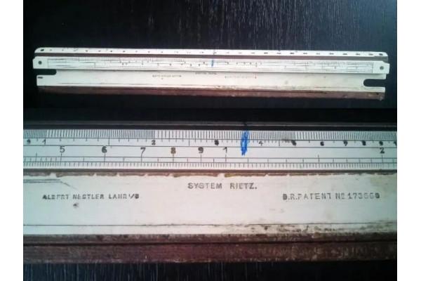 (Rigla de calcul Vintage) 25 cm, anii 1900, Albert Nestler System Rietz Pre-Model 23, c1908-1911