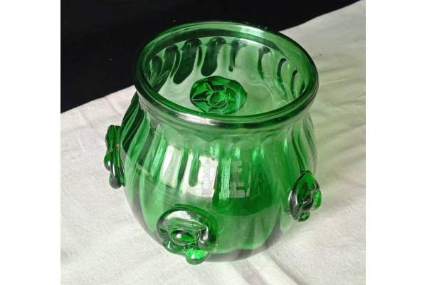 (Vaza Vintage) Bol din sticla verde, cu deschidere larga (din perioada comunista)