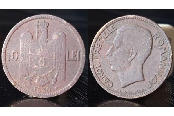 (Moneda Veche) 10 lei 1930 - Carol II Regele Romanilor (Paris)