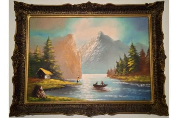Tablou Peisaj pictura pe panza, rama lemn 79x59 cm (Tablou Vechi)